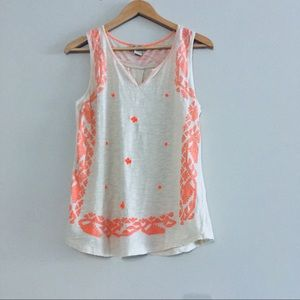 Lucky Brand Embroidered Orange and Cream Tank Top